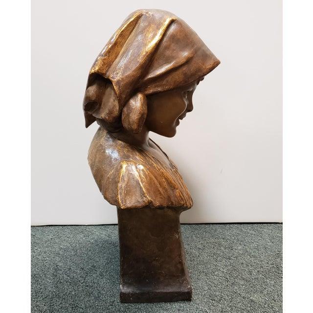 "Late 19th Century 1898 ""Annita"" Goldscheider Gilded Terracotta Bust Sculpture by Ippazio Antonio Bortone For Sale - Image 5 of 8"