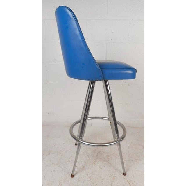 Reliable Vintage Modern Stool Red Vinyl Seat Benches & Stools