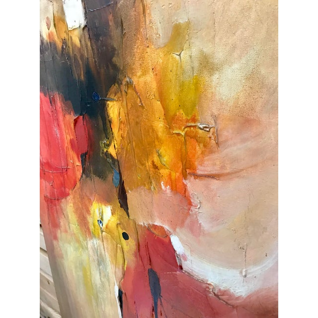 1970s Vintage Leonardo M. Zablan Abstract Oil on Canvas Painting For Sale - Image 4 of 8