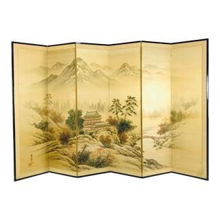 Japanese Byobu Hand Painted Silk Screen For Sale