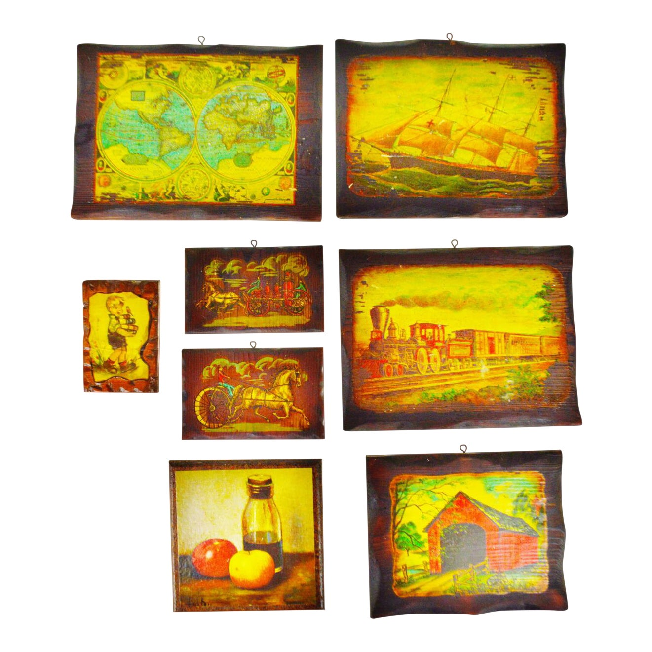Vintage Carved Wood Decoupage Wall Art Plaques - Group of 8 | Chairish