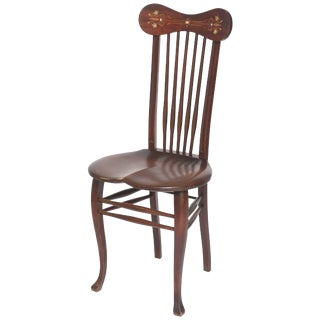 Antique Mother-Of-Pearl Inlaid Windsor Spindle Back Saddle Seat Side Chair For Sale
