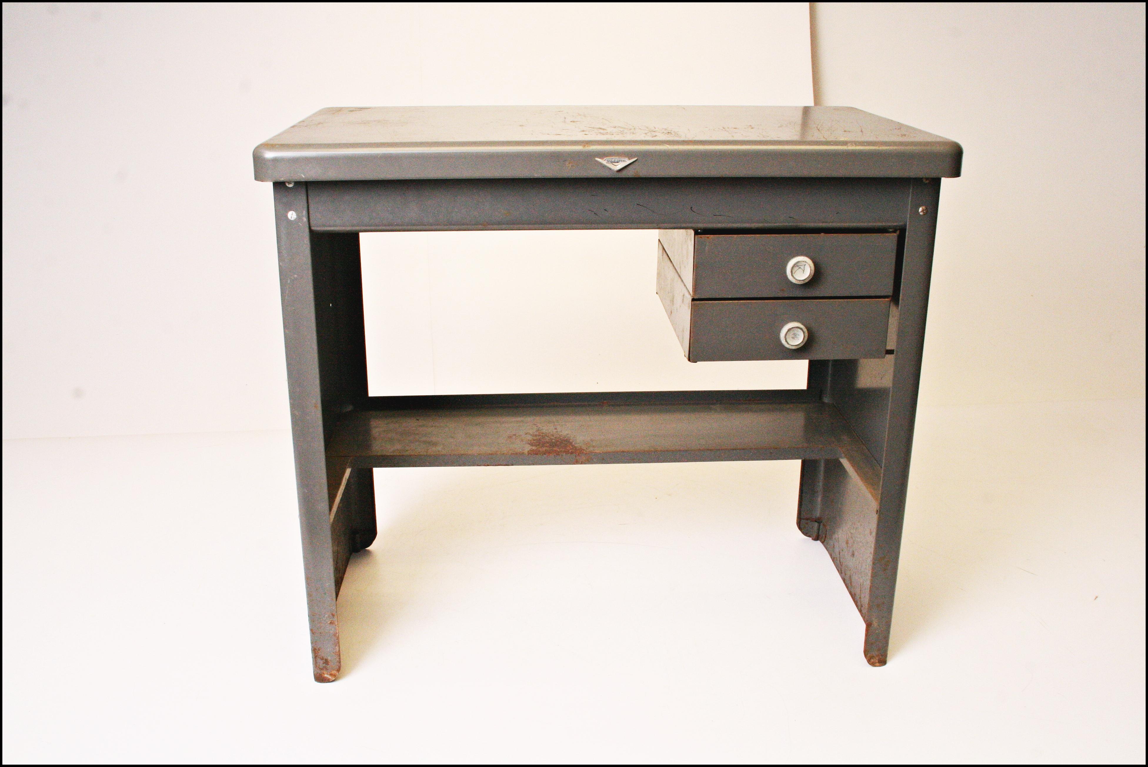 vintage steel furniture. Vintage Cole Steel Industrial Gray Metal Desk - Image 2 Of 11 Furniture N