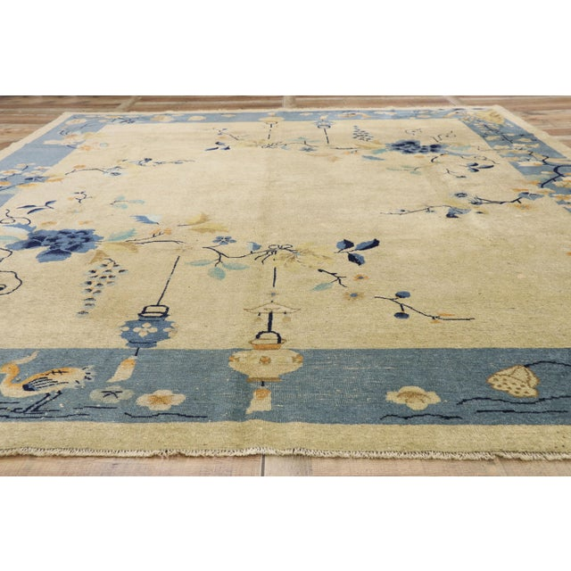 Textile Antique Chinese Peking Pictorial Rug - 10′2″ × 11′6″ For Sale - Image 7 of 10