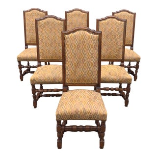 C. 1900 French Louis XIII Style Solid Walnut Dining Chairs - Set of 6 For Sale