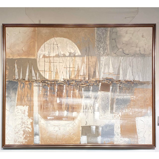 Canvas Monumental Signed Oil on Canvas Ferrante Nautical Sailboats Abstract Painting For Sale - Image 7 of 7