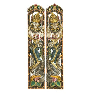 "Asian Balinese Hand-Carved Oversized Decorative Teak Wall Art Panels 76"" H Pair For Sale"