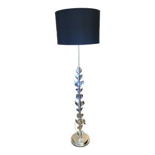 Usona No. 03296 Satin Nickel Floor Lamp with Shade For Sale