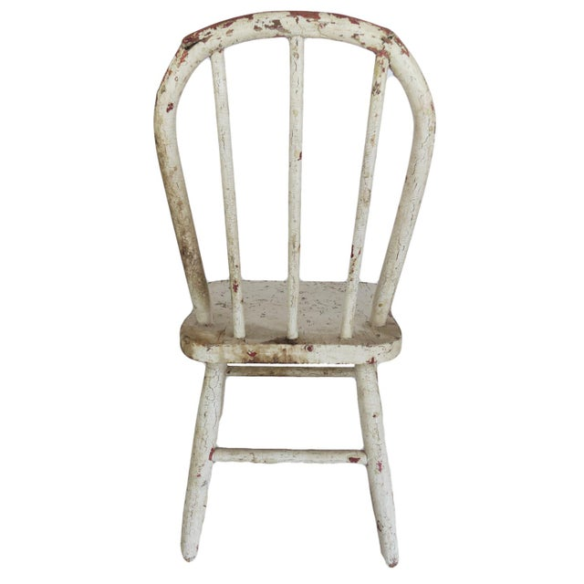 Children's Vintage White Wooden Children's Chair Seat For Sale - Image 3 of 5