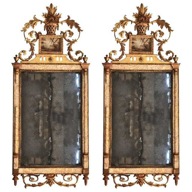Wood 18th Century Marble and Églomisé Bilbao Mirrors - A Pair For Sale - Image 7 of 7