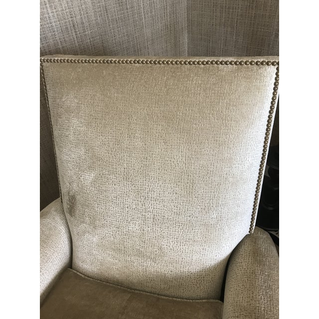 Edward Ferrell-Lewis Mittman Greenwich Club Full Pitch Recliner - Fabric Is Lee Jofa Threads - Pattern Calisto - Color Parchment For Sale - Image 10 of 11