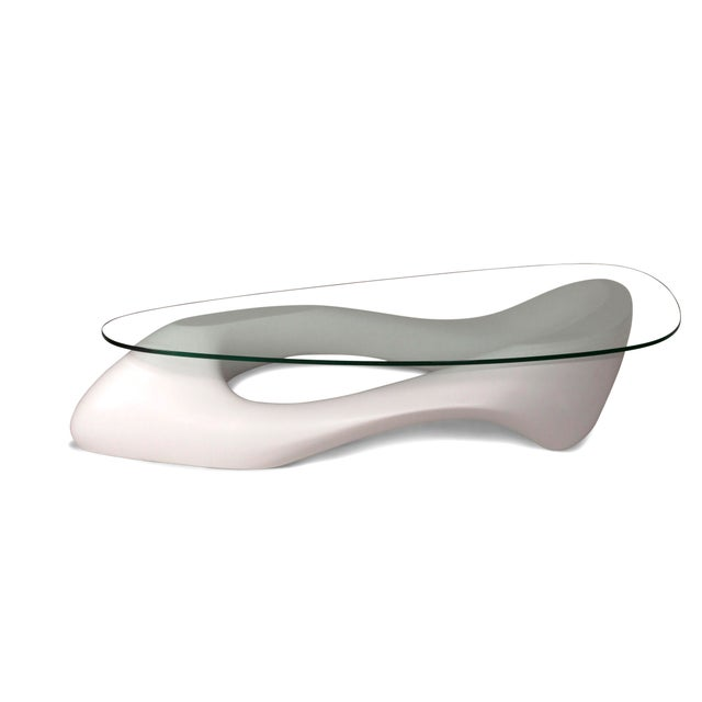 Glass Amorph White Lust Coffee Table With Organic Shape Glass Top For Sale - Image 7 of 10