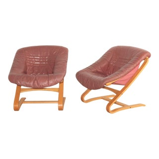 Swedish Molded Leather and Beechwood Cantilever Lounge Chairs - a Pair For Sale