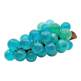 Pop Art Colored Lucite Pearlescent Turquoise Blue Table Sculpture of Grapes For Sale