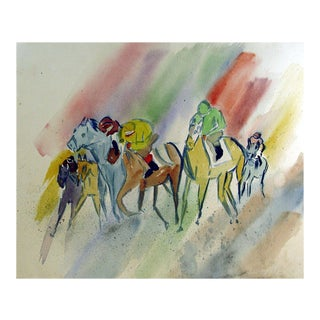 Modernist Rainbow Horse Race Watercolor Painting For Sale