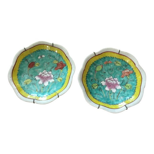 1930's Chinese Ceramic Painted Plates - a Pair For Sale