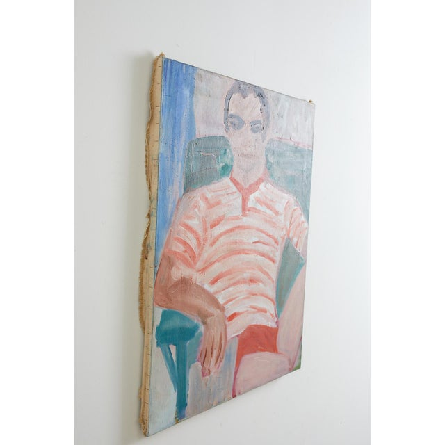 Canvas Midcentury Oil on Canvas Beach House Figural Painting For Sale - Image 7 of 13