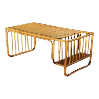 Bamboo and Cane Bentwood Breakfast in Bed Tray With Newspaper Rack C. 1930's For Sale