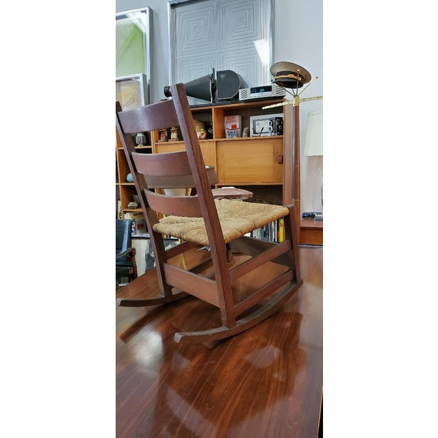 Gustav Stickely Early Arts & Crafts Mission Oak Youth Rocker Chair For Sale In Los Angeles - Image 6 of 13