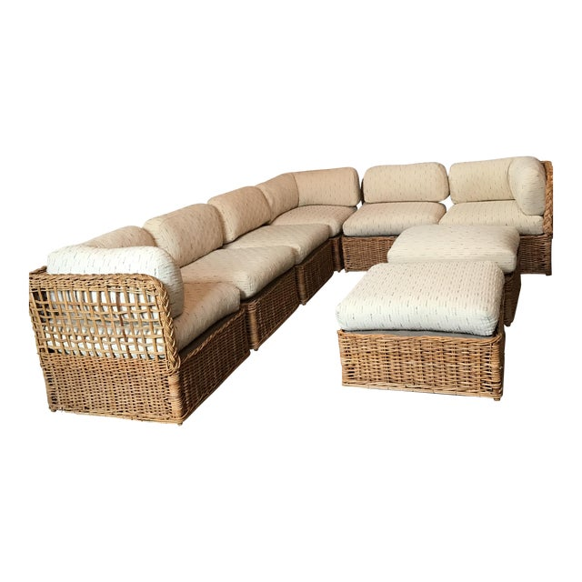 Vintage Rattan Sectional Sofa Set For Sale