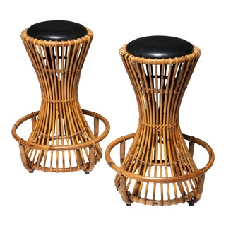 Pair of Wicker High Stools by Tito Agnoli for Bonacina For Sale
