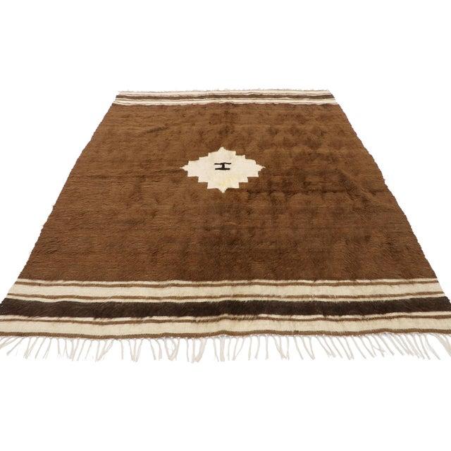 Mid-Century Modern Vintage Turkish Kilim Rug, Square Flat-Weave Rug - 04'03 X 05'05 For Sale - Image 3 of 9