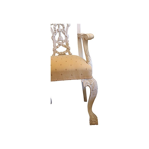 Silk 1960s Italian Hand-Carved Chairs - a Pair For Sale - Image 7 of 8