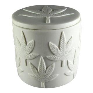 Jonathan Adler Embossed Marijuana Leaf Design Jar For Sale