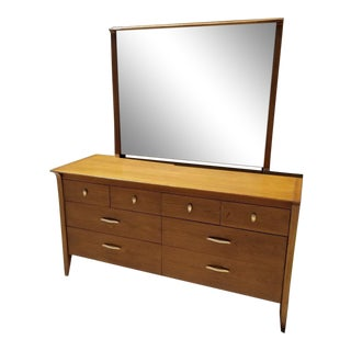 John Van Koert for Drexel Profile Walnut Dresser & Mirror For Sale