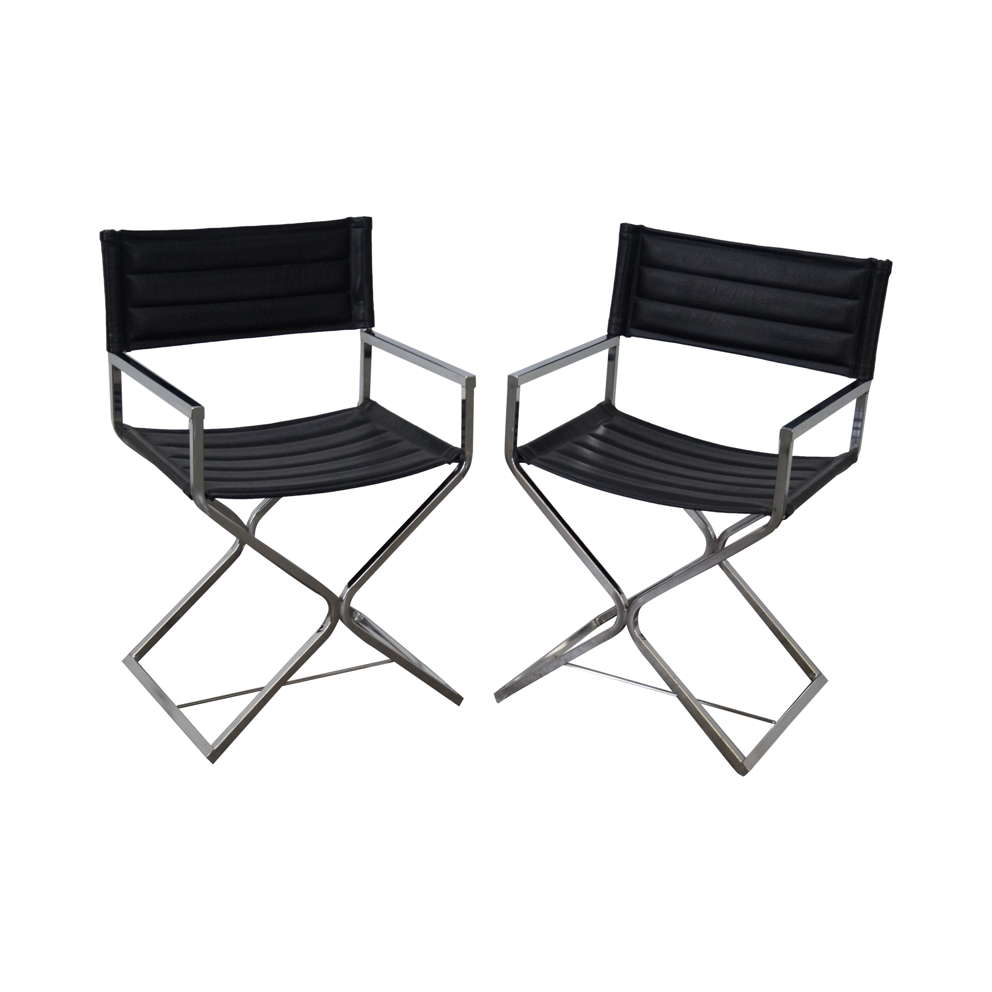 Mid Century Chrome Frame Directors Chairs   A Pair