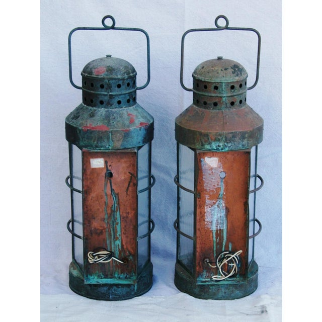 Nautical Copper Lantern Wall Sconces- A Pair - Image 7 of 12