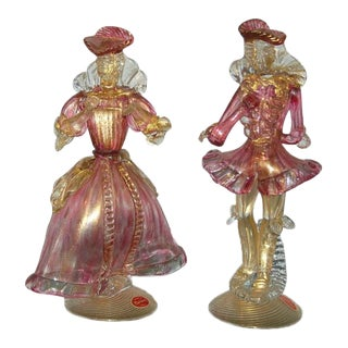 Vintage Murano Glass Figurines Cranberry Gold For Sale