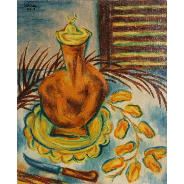 Impressionism Laurent Marcel Salinas, Untitled - Tropical Still Life With Knife , Oil on Canvas For Sale - Image 3 of 3