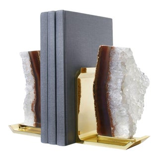 Fim Bookends, Agate Druze & Gold, Set of 2 For Sale