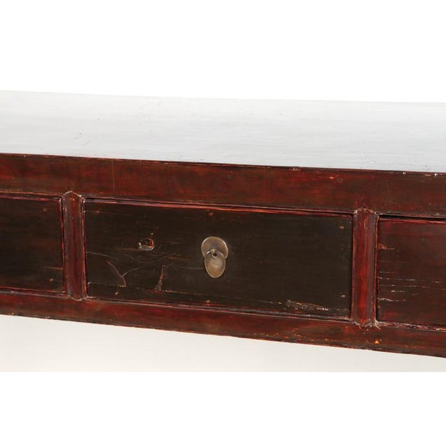 Black 18th Century Five-Drawer Chinese Scholar's Table For Sale - Image 8 of 10