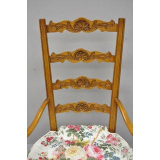 Vintage Mid Century French Country Provincial Style Shell Carved Tall Ladder Back Arm Chair Preview
