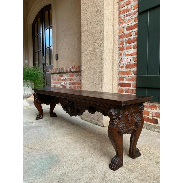 1900s Antique Italian Carved Walnut Renaissance Revival Bench Ottoman For Sale In Dallas - Image 6 of 13