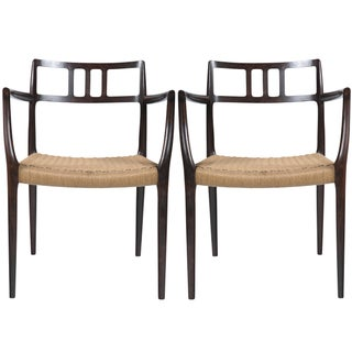 Niels Moller Rosewood Arm Chairs - a Pair For Sale