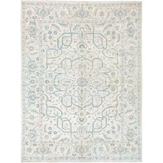 Kafkaz Peshawar Ivory & Gray Wool Rug - 9'1 X 11'11 For Sale