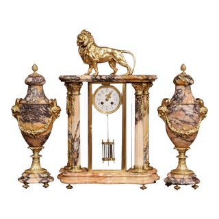 Important 19th Century French Marble and Bronze Mantel Clock With Cassolettes For Sale
