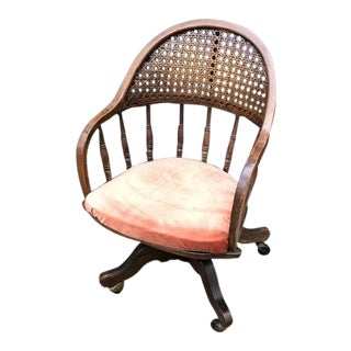 Cane-Back Rolling Office Chair With Peach Velvet Seat For Sale