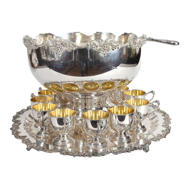 Vintage English Georgian Style Silver Plated & Copper Punch Bowl Set of 15 For Sale
