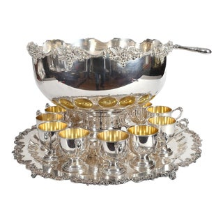 Vintage English Georgian Style Silver Plated or Copper 15 Piece Punch Bowl Set For Sale
