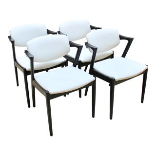 Kai Kristiansen No 42 Danish Modern Dining Chairs, Refinished With New Leather Upholstery - Set of 4 For Sale