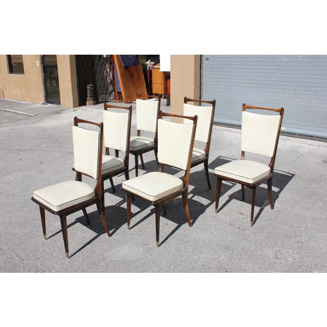 4fbeaf798702 1940s French Art Deco Solid Mahogany Dining Chairs - Set of 6 For Sale -  Image