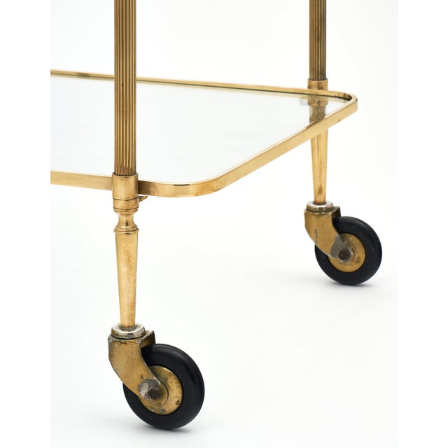 Gold French Art Deco Period Brass Bar Cart With Finials For Sale - Image 8 of 10