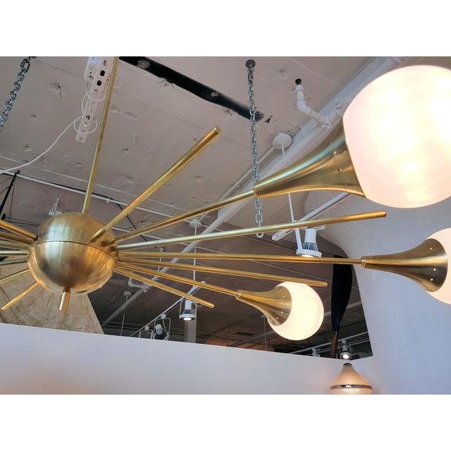 Mid-Century Modern Italian Stilnovo Style Brass & White Glass Sputnik Chandelier 1960s For Sale In Boston - Image 6 of 12