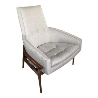 Mid Century Vintage Milo Baughman Exposed Walnut Frame Club Chair For Sale