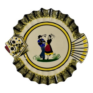 1940s French Faïence Henriot Quimper Fish & Breton Dancer Plate, Multiples Available For Sale
