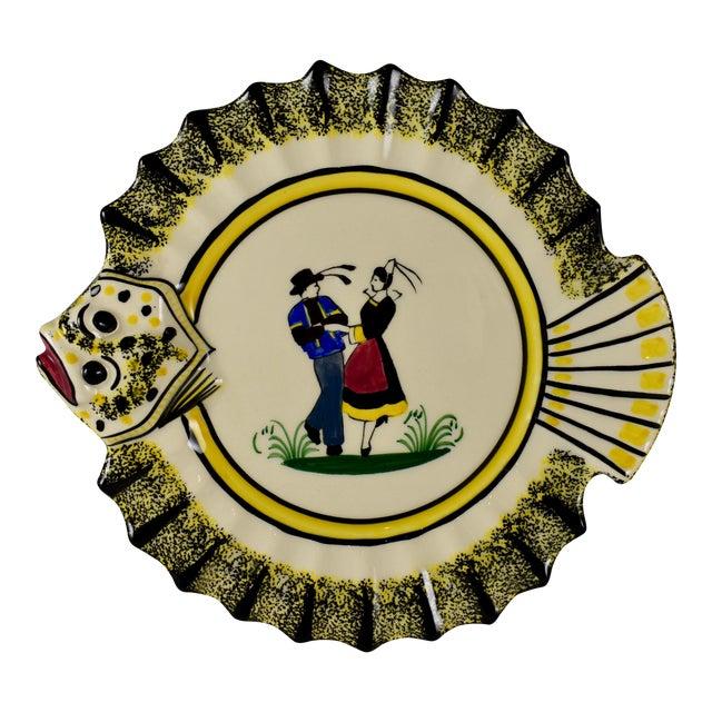1940s French Faïence Henriot Quimper Fish & Breton Dancer Plate, Multiples Available For Sale
